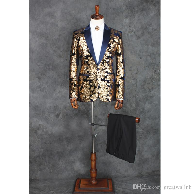 Свободный корабль мужская черный/синий блесток вышивка звезды/вечерний костюм / сценическое представление/свадебный костюм