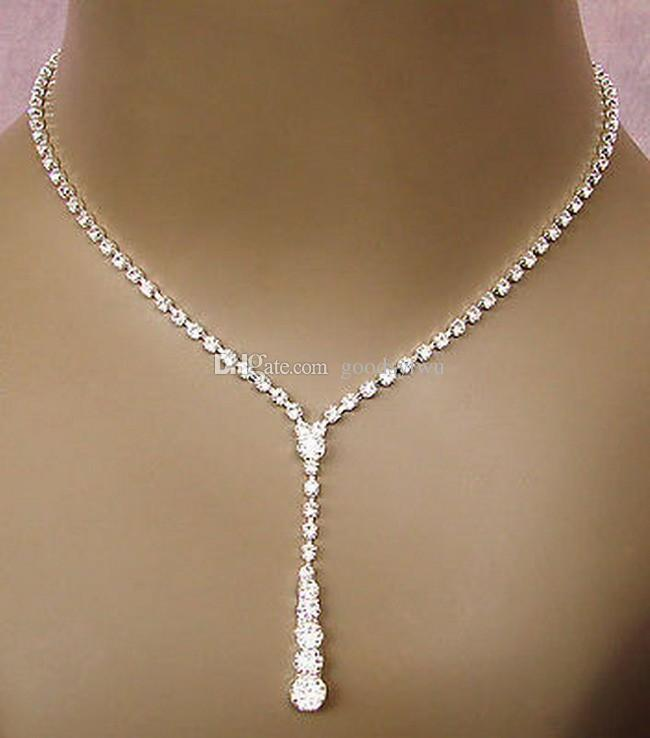 Luxury Bling High Quality Elegant 925 Silver Plated Crystal Necklaces/Earrings Bridal Wedding Jewelry Sets For Women