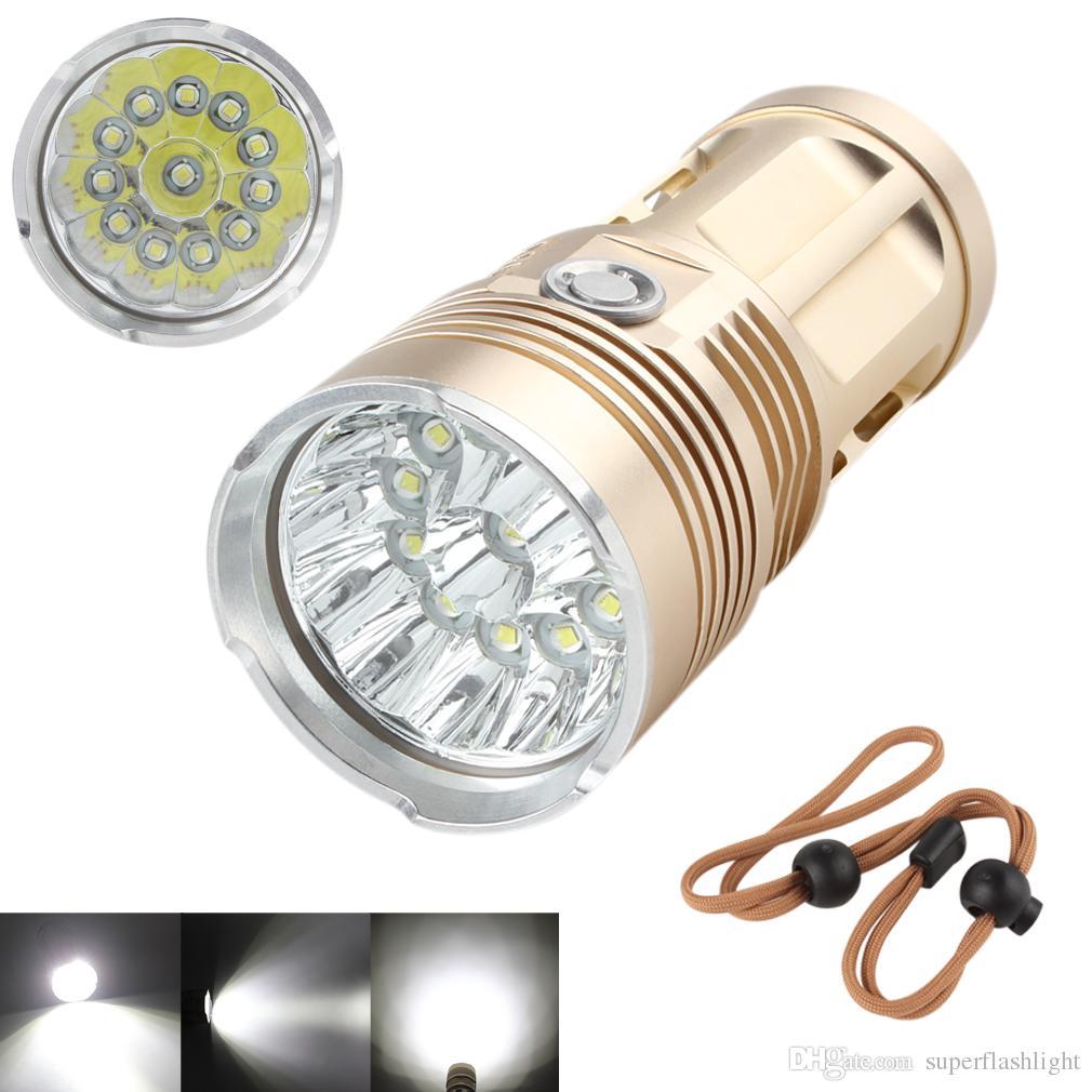SKYRAY Golden 12x XML-T6 LED Super Bright Backpacking Hunting Fishing Flashlight Torch Flash Lamp 3 Modes LEF_00V