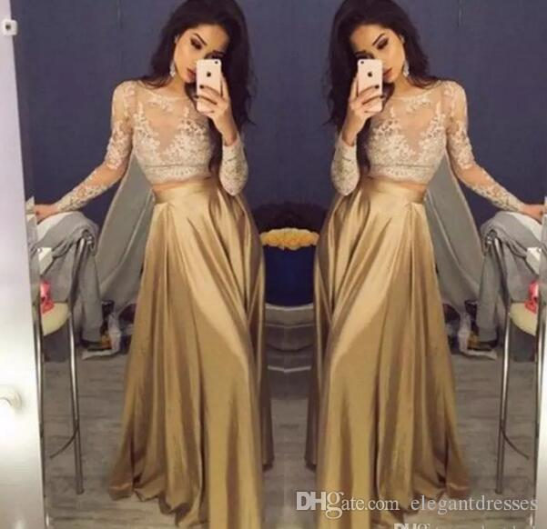 Beautiful Lace Long Sleeve Gold Two Piece Prom Dresses 2021 Satin Cheap Prom Gowns Sheer Golden Party Dress