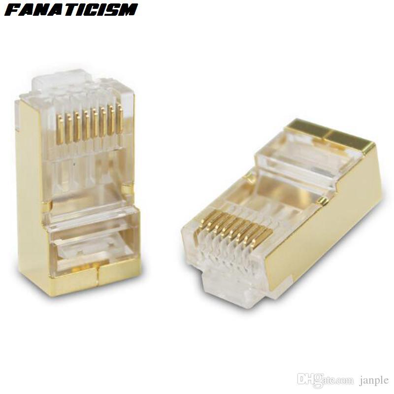 1000PCS / الكثير أعلى جودة معدن الذهب درع RJ45 8P8C CAT5E وحدات الشبكة التوصيل RJ45 CAT5 إيثرنت LAN كيبل وحدات التوصيل محول موصل