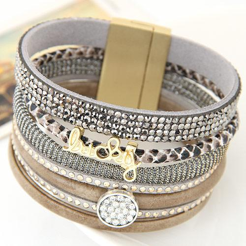 Lemoer Fashion Rhinestone Lucky Letter Multilayer Leather Bracelet Bangles With Wide Magnetic Wristband Jewelry For Women Men Christmas Gift