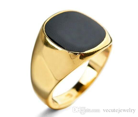 New Fashion High Quality 18K Gold and Silver Plated Enamel Men Ring for Male Boy Man Ring Anel Fashion Health Jewelry