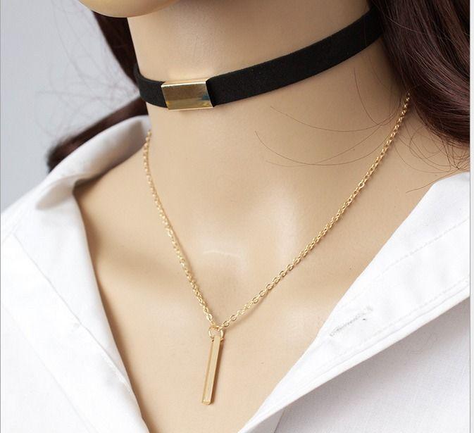 Moda dupla de couro castanho coreano caxemira multi-camada colar de borla
