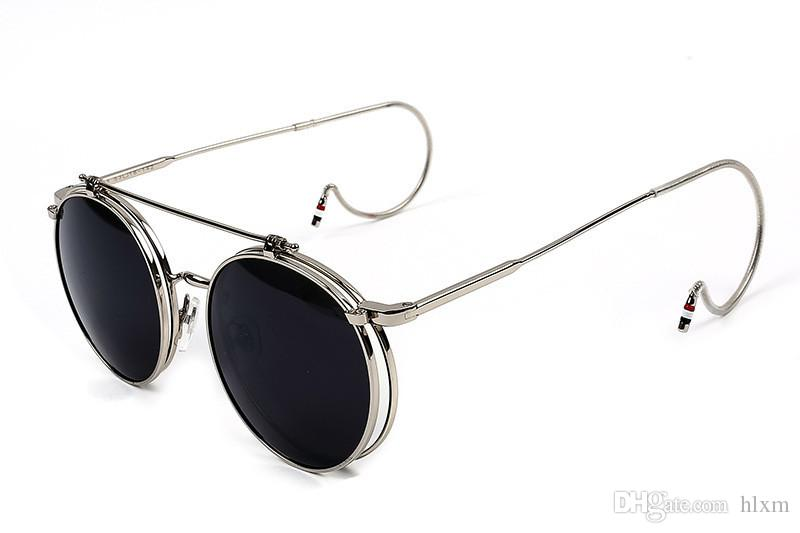 Steampunk-2016 New G-Dragon Vintage Round Flip up Sunglasses Women Men Retro Steampunk mirrored Glasses Points Fashion Shades S861