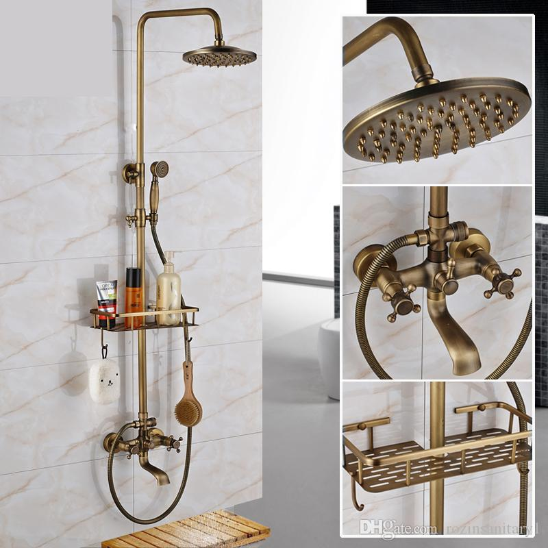 "Antique Brass Wall Mounted Bathtub Shower Set Faucet Dual Handle with Commodity Shelf Bathroom Shower Mixers 8"" Rainfall"