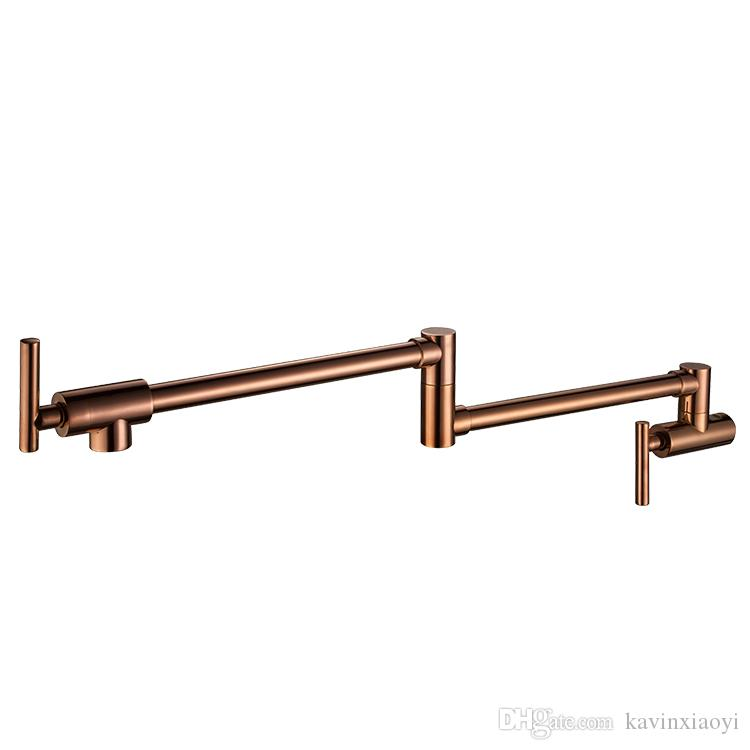 Free ship Wall Mounted Brass single cold Water Pot Filler faucet tap Double Joint Spout rose gold Wall Mounted Kitchen Faucet