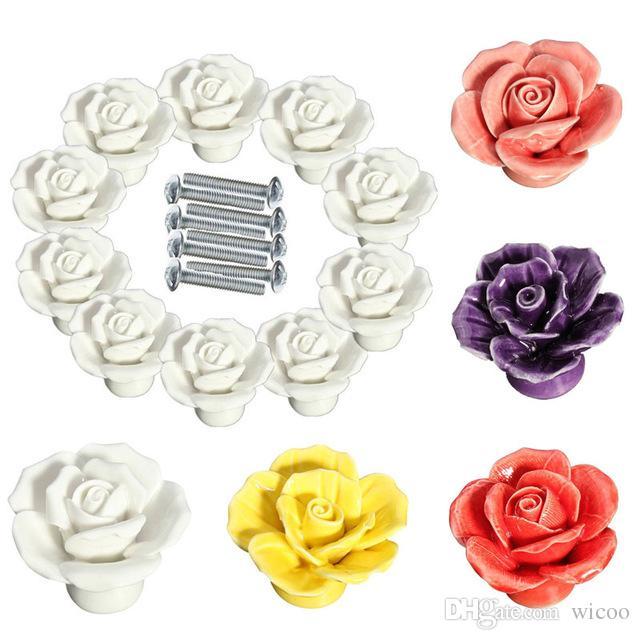 10pcs / conjunto de alta qualidade Rose Flor Cerâmica Porta Knob Gabinete do armário de cozinha Pull gaveta Handle Botão Vintage Cupboard Ceramic Handle