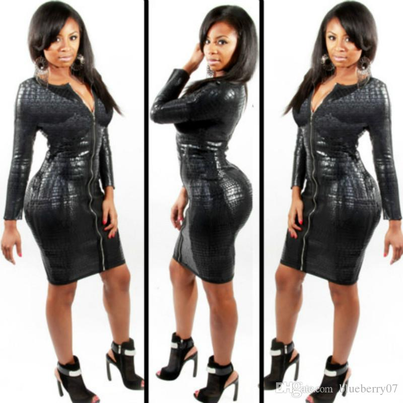 Plus Size BBW Dress women clothing Sexy Black Snakeskin Faux Leather Bandage Dress Summer New Zipper Bodycon dress
