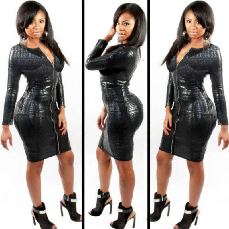 Artı Boyutu BBW Elbise kadın giyim Seksi Siyah Snakeskin Faux Deri Bandaj Elbise Yaz Yeni Fermuar Bodycon elbise