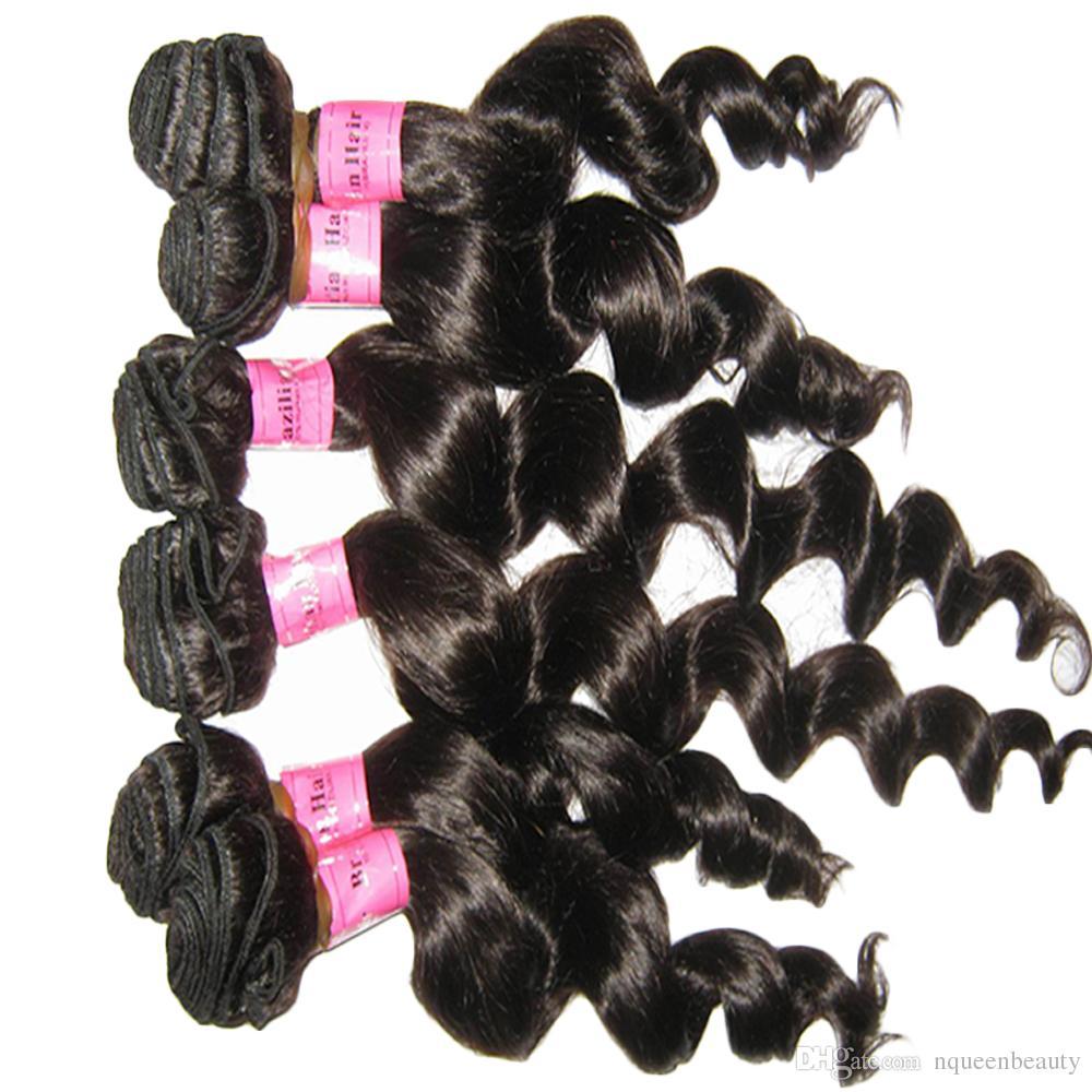 عذراء البرازيلي الشعر نسج حزم غير المجهزة Dyeable أسود اللون نسج الشعر 4pcs الكثير 8A موجة عميقة فضفاضة