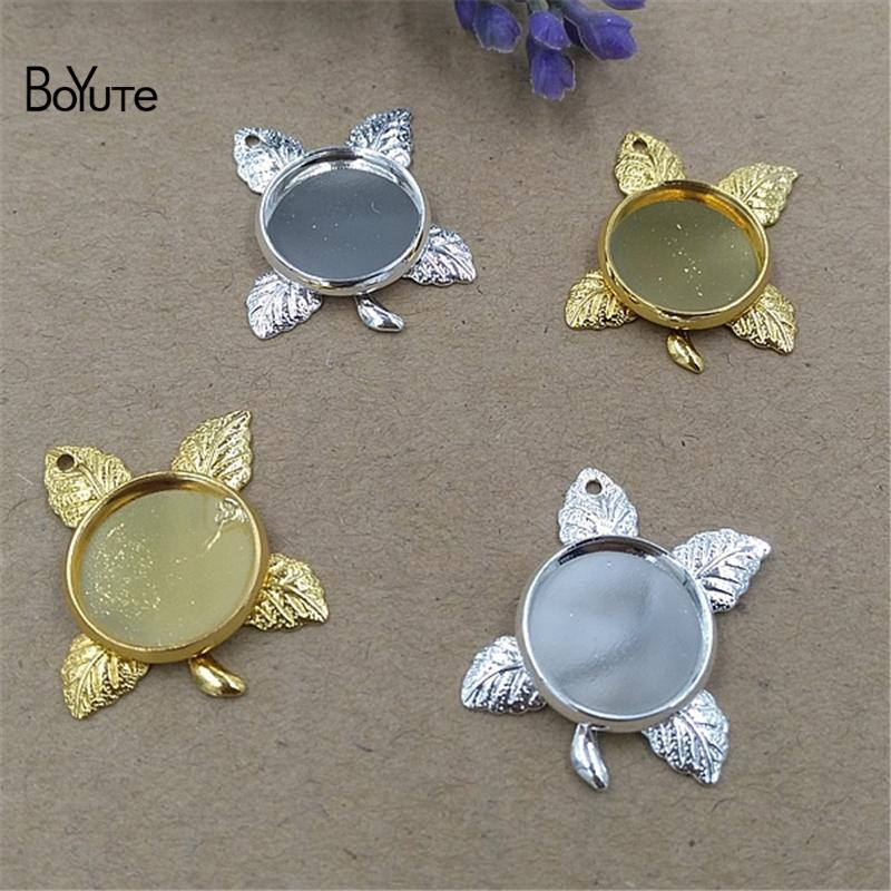 BoYuTe 40 Pieces 12MM Round Cabochon Base Pendant Blank Tray Settings DIY Jewelry Bubble Bag For Protection