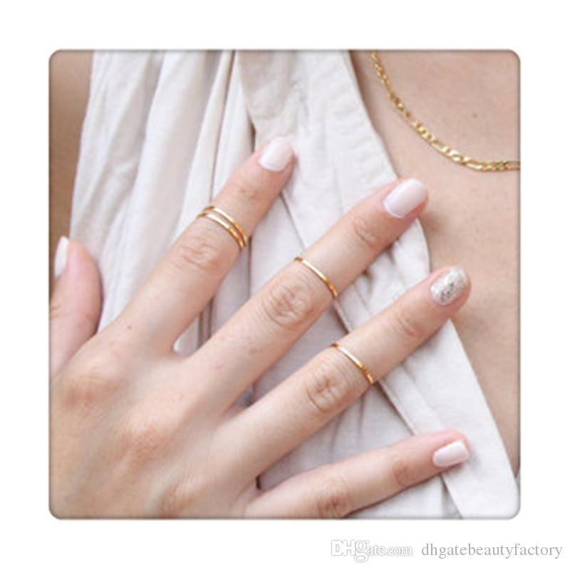 2017 Hot 5pcs Rings Set Finger Rings Stack Plain Cute Above Knuckle Ring Band Midi Ring Set For Women Gold Tone Gift Free Shipping