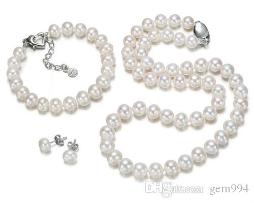 classic sets 9-10mm Akoya round white pearl necklace brcelet earring