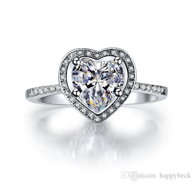 Anello di fidanzamento con diamante sintetico a forma di cuore da 2 carati per le donne Anello in argento sterling massiccio 925 gioielli brillanti per sempre