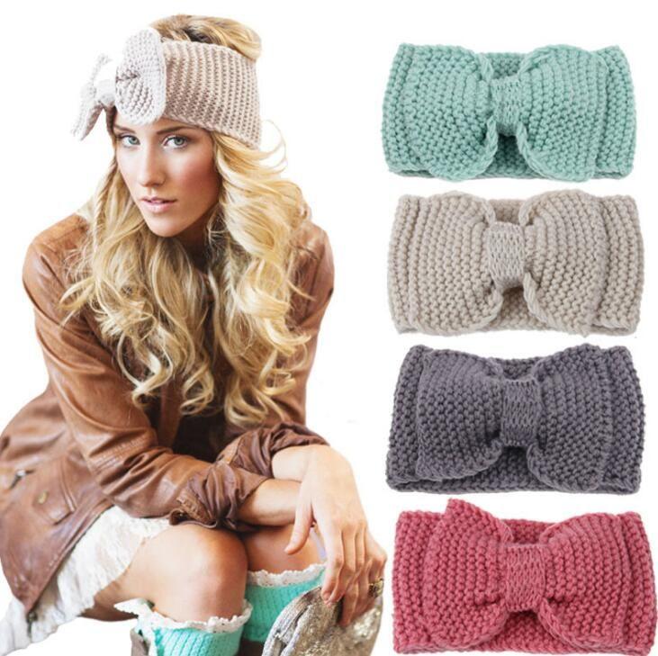 10Pcs/Lot Women Lady Crochet Bow Knot Turban Knitted Head Wrap Hairband Winter Ear Warmer Headband Hair Band 2017 Christmas Style