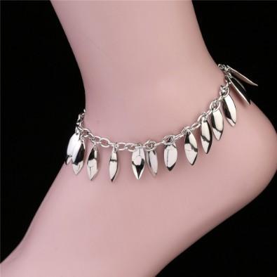 Oro cavigliere di celebrità / tono Silver Leaf nappa Cavigliera Catene catena del piede Barefoot Infraditi gotiche Ragazze cavigliere