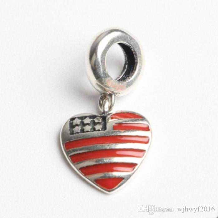 New USA territory heart with red enamel dangle charms 925 sterling silver jewelry for women fits brand bracelets DIY Making