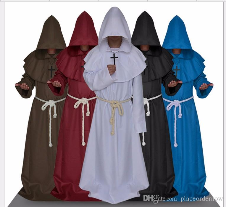 Fashion New Unisex Renaissance Christian Priest Cosplay Robe Medieval Monk Sorcerer Pastor Robe Halloween Cosplay Costume Halloween Costumes Groups Four Person Halloween Costume From Placeordernow 46 71 Dhgate Com