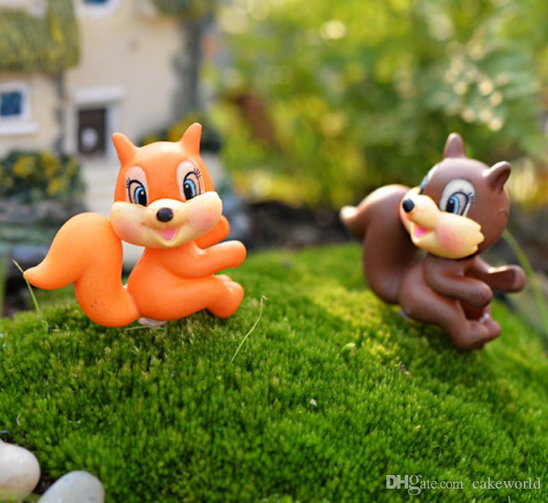 5pcs grande coda scoiattolo in miniatura fata giardino decorazioni terrario Jardin figurine animale casa bonsai ornamento