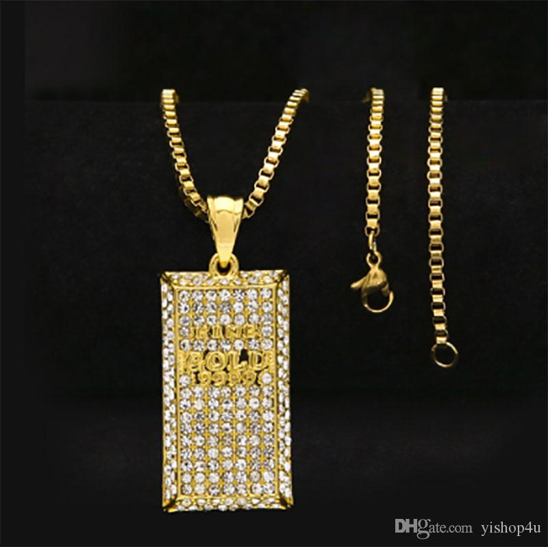 Hip Hop 18K Gold Plated Fully Iced-Out CZ CRYSTAL Bling Bling Rectangle Dog Tag Pendant Necklace with 3mm 24inch Cuba/Rope/Box Chain Necklac