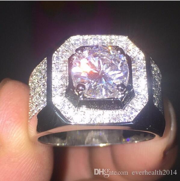 새로운 디자인 쥬얼리 남자 솔리테어 8mm 돌 5A 지르콘 탄생석 10kt 화이트 골드 가득 결혼 반지 약혼 밴드 크기 8-13