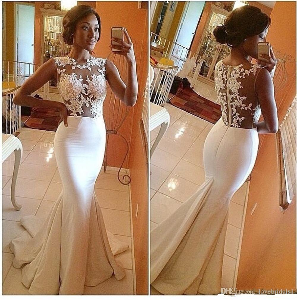 2017 новый гламурный белый русалка кружева свадебные платья с аппликацией обратно молния развертки поезд формальные свадебные платья