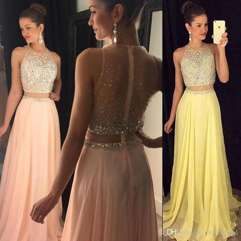 New Cheap Illusion Two Pieces Prom Dresses Jewel Neck Yellow Peach Chiffon Long Crystal Beads 2 Pieces Open Back Party Dress Evening Gowns