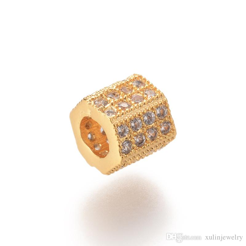 Connector Beads Cylinder micro pave jewelry 5.8*6.4mm Charms for Bracelet ICYS031 Spacer Bead Diy Bead Bulk Sale