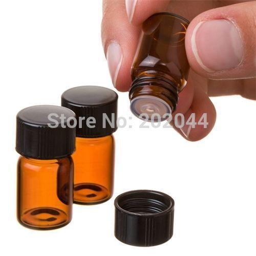 Оптовая торговля-высокое качество 50 пакет 1 мл (1/4 драм) Янтарное стекло эфирное масло бутылка, отверстие редуктор крышка заводская цена
