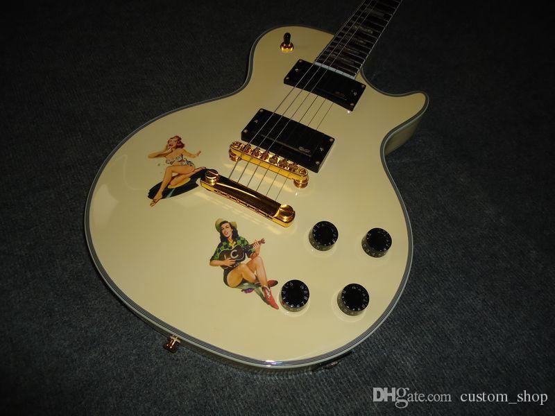 Personalizado Steve Jones Assinatura Antique amarelo Sex Pistols da guitarra elétrica EMG Pickups Preto Botões velocidade
