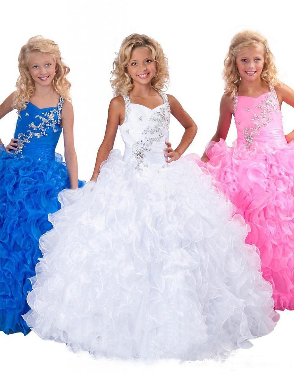 New Fashion Beading Organza Custom Cute Little Flower Girl Dress Lunghezza del pavimento Fiori Archi Bambini Prom Abito di compleanno 17