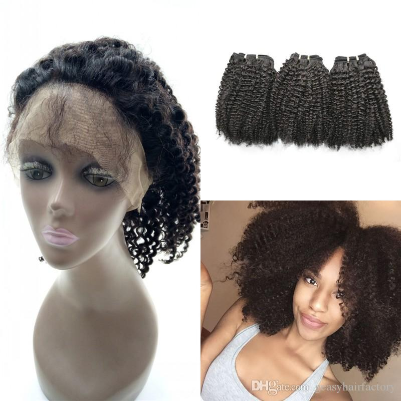 Afro Kinky Curly Human Hair Bundles With 360 Lace Frontal Closure Baby Hair Malaysian 360 Frontal LaurieJ Hair