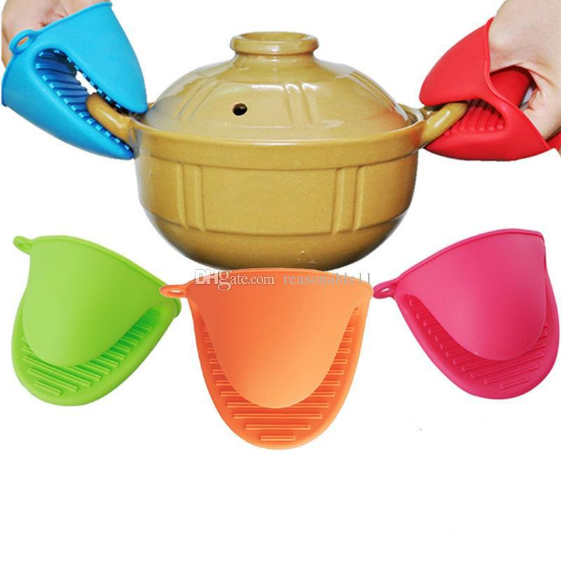 Silicone Heat Proof Non-slip Glove Cute Candy Colors Kitchen Cooking Microwave Oven Mitt Insulated 1PCS Free Shipping