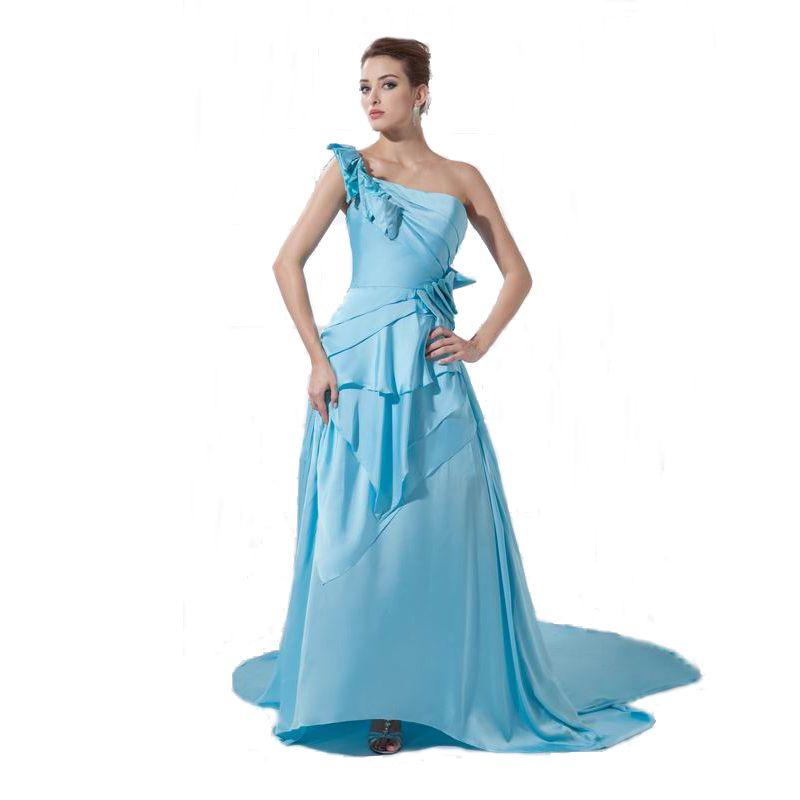 Latest Court Train Carpet Ladies Dress Fashion Soft Satin One Shoulder Design Long Prom Party Evening Gown