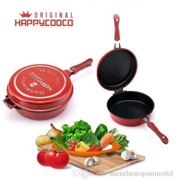 Groothandel happycooco soep pot anti-stick lage druk fornuis dubbele kant fry pan met soep pot