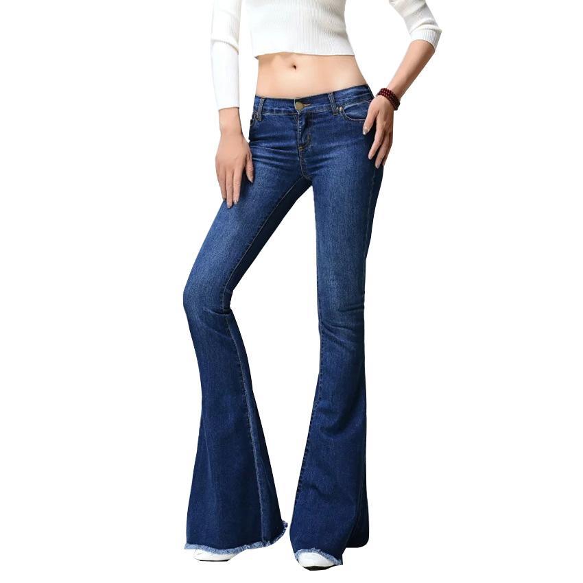 Al por mayor 2017 nuevos pantalones vaqueros acampanados mujeres flare jeans ajustados campana estilo de fondo retro mujeres pierna ancha mujeres pantalones de mezclilla azul de la borla de la cintura baja