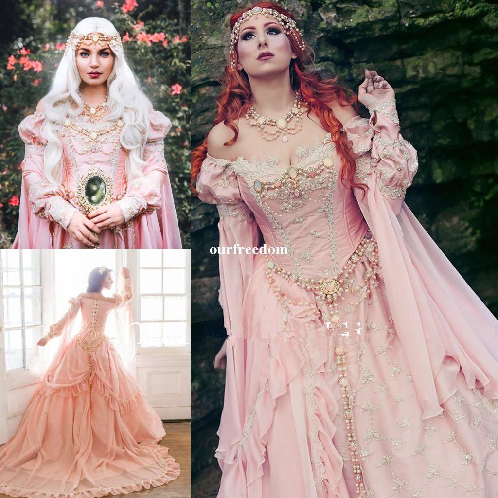 Abiti da sposa medievali con ball gown 2019 al largo della spalla Royal Sleeve Perle Garden Bridal Gown Vintage Lace Up Custom Made