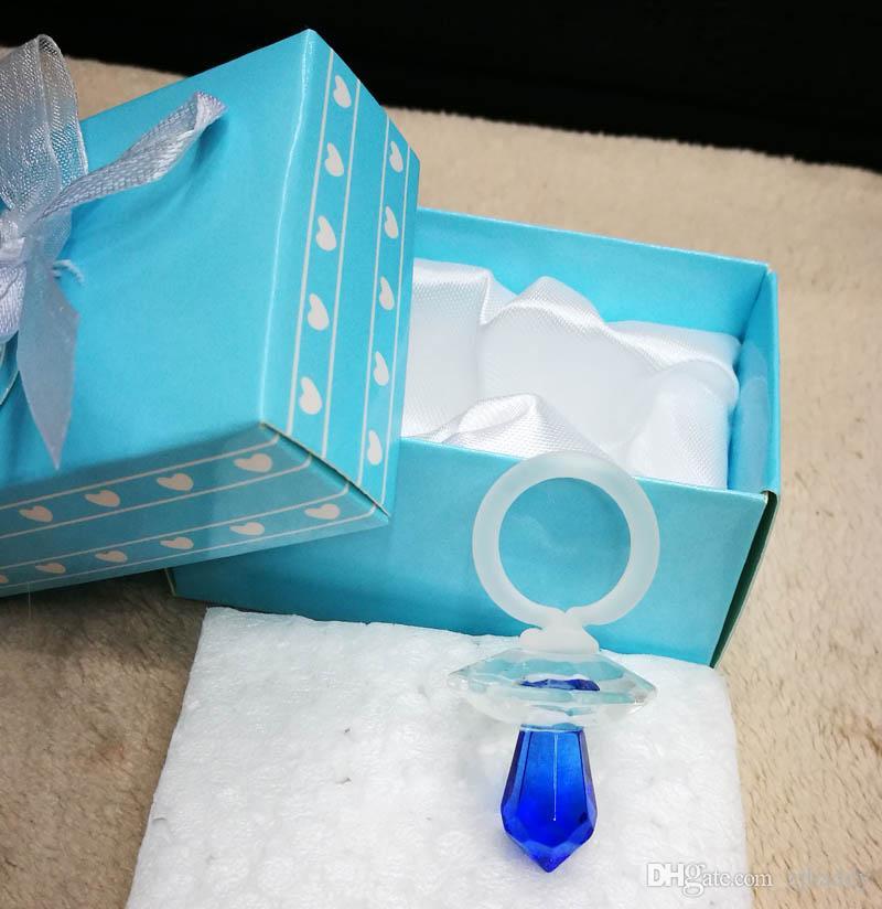 Ywbeyondクリスタルブルー少年おしゃぶり赤ちゃんの洗練されたギフト生まれたばかりの赤ちゃんの贈り物100ピースの赤ちゃんバプテスマ好意