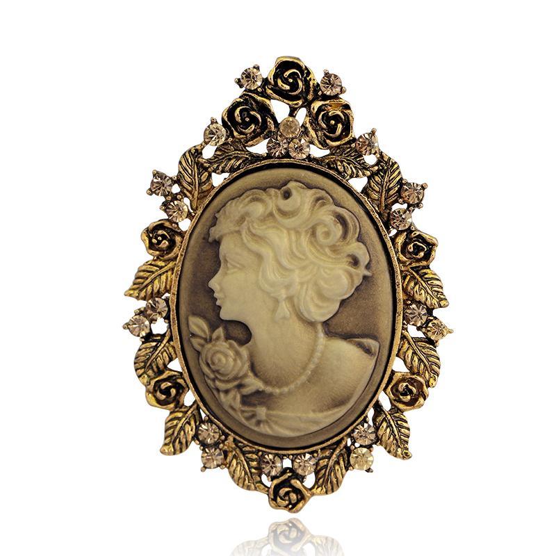 Broches de plata Pin antiguos accesorios al por mayor de la boda del vintage joyeria camafeo de la reina de belleza broches para las mujeres del Rhinestone cristalino del oro