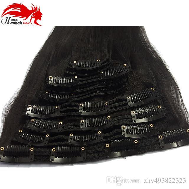 Clip prodotto Hannah 100% estensioni capelli umani brasiliani testa intera set 7 pezzi 12