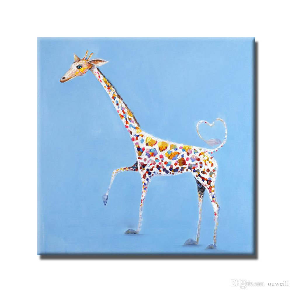 Hand painted free shipping funny giraffe oil painting top quality cartoon animal wall pictures original art for sale