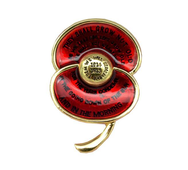 Acheter Vente En Gros Ode Of Souvenir Broche En Coquelicot En émail Rouge Insigne Du Centenaire De La Première Guerre Mondiale Gravé Du Poème Pour Les