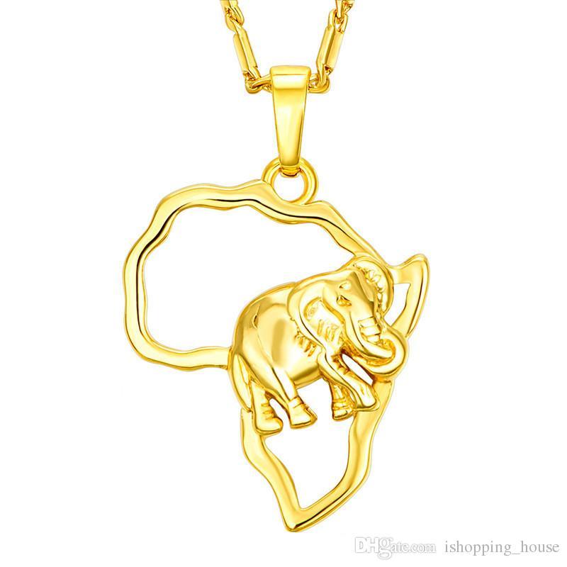 Collana di moda di fascino hotsale 18k oro giallo placcato in oro 925 argento placcato africa elefante pendente collana per uomo donne JNL1014