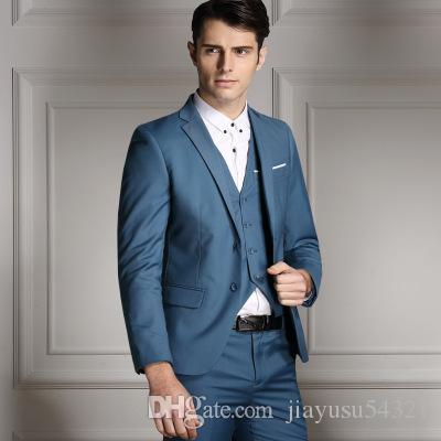 Best Quality New Hot Customize Slim Fit Groom Tuxedos Light Gray ...