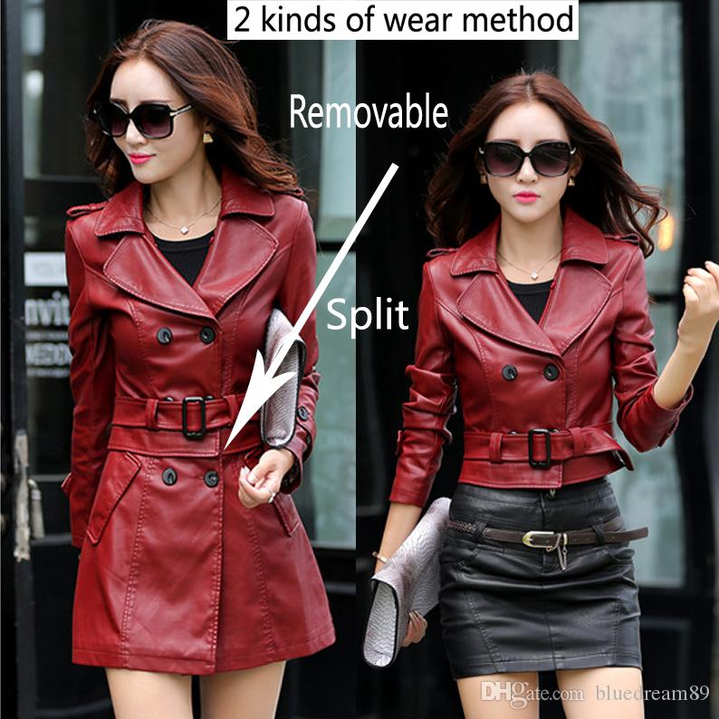 Spring and autumn women leather jackets windbreaker washed PU leather motorcycle jacket faux fur coat brand luxury designer coats for women