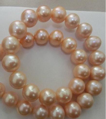 Elegante collana in oro rosa da 10-11 mm con perla in oro 18 carati, chiusura in oro 14K