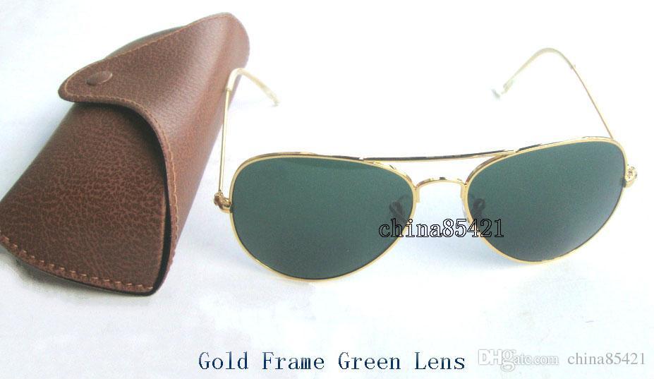 1Pcs Designer Klassische Pilot Sonnenbrille Mens Womens Sonnenbrille Brillen Gold Rahmen Grün Glaslinse 58mm 62mm mit Box und Fall kommen