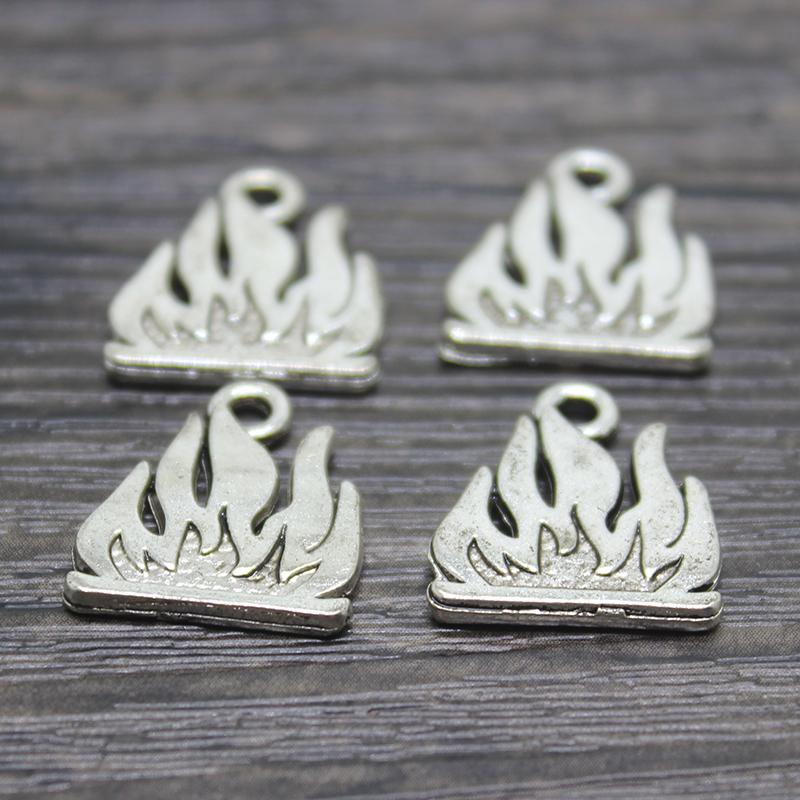 30pcs/lot 16*18mm Antique silve plated burning flames fire Charms pendants