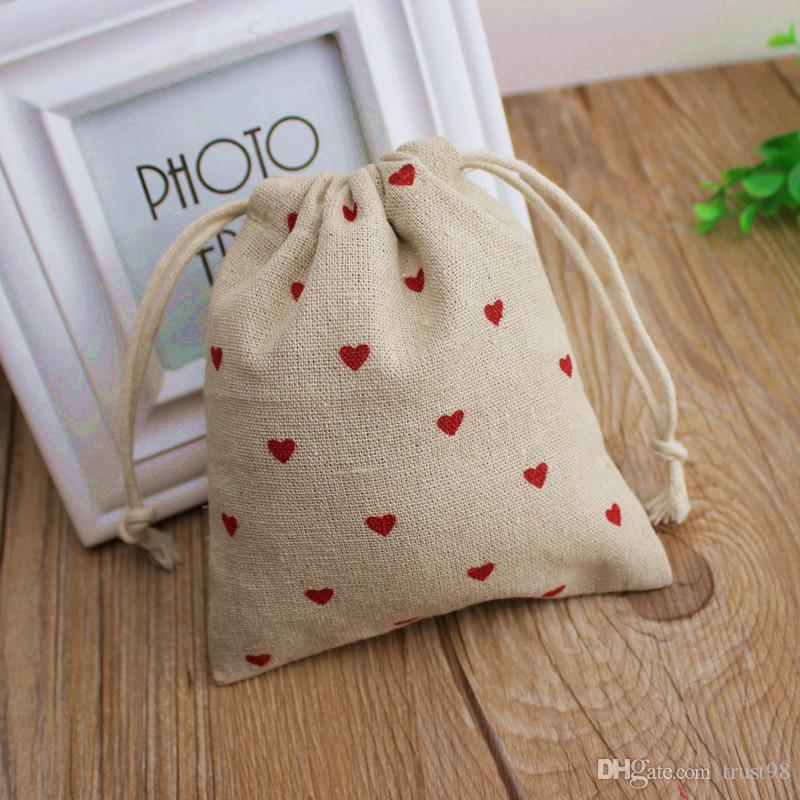 Regalo rosso del cuore i sacchetti di tela 9x12cm 10x15cm 13x17cm pacchetto di 50 monili della caramella favore Sack Makeup Pouch